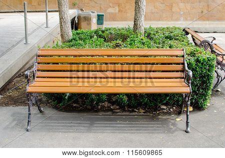 Orange Bench In Park