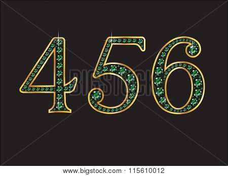 4 5 And 6 In Emerald Jeweled Font With Gold Channels