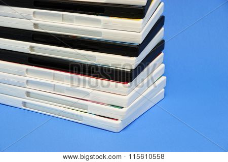 stacking DVD movie boxes