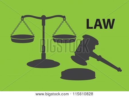 Balance Scales And Gavel For Law And Justice Vector Illustration