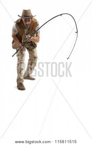 Fisherman with spinning isolated on white