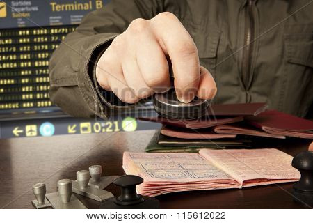 Officer of the state border guard service. Passport control.