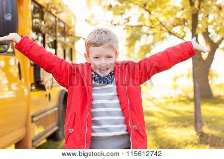 Kid And School Bus