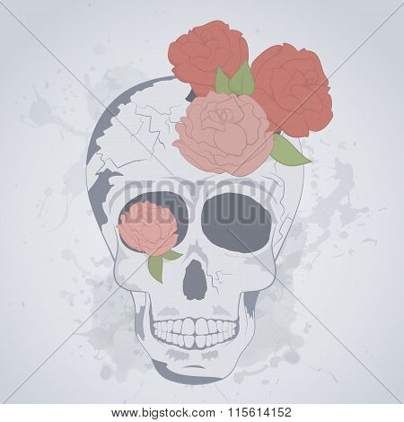 Colorful Vintage Human Skull With Roses. Tattoo Skull