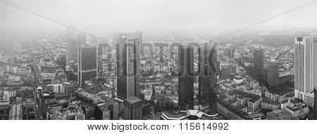 Frankfurt European financial capital skyline in fog