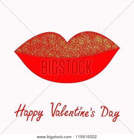 Big Full Thick Red Lips With Gold Glitter On White Background. Isolated Flat Design Happy Valentines