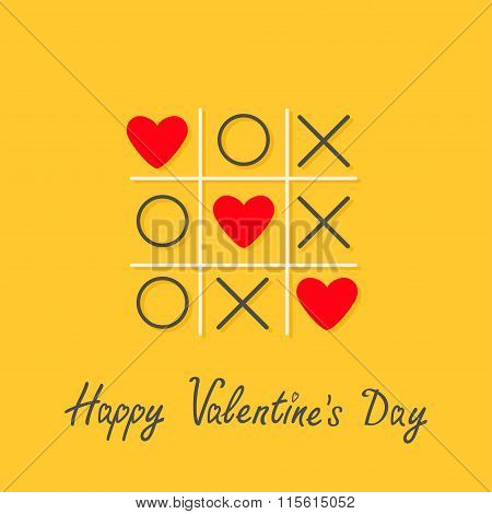 Happy Valentines Day. Love Card. Tic Tac Toe Game With Cross And Three Red Heart Sign Mark Flat Desi