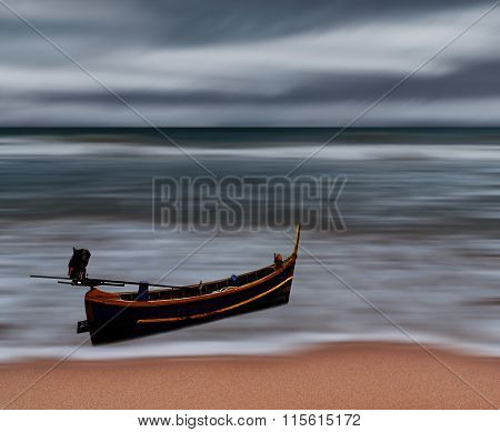 Sea And Beach Storm With Fishing Boat, Motion Blur