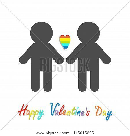 Happy Valentines Day. Love Card. Gay Marriage Pride Symbol Two Man Silhouette Lgbt Icon Rainbow Hear