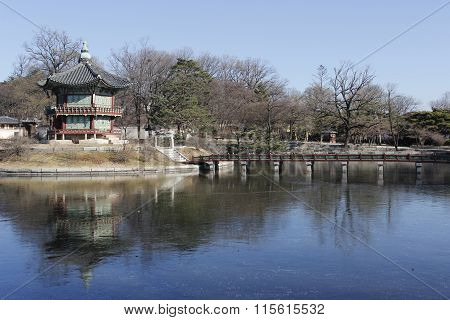 Gyeongbok Palace Lake And Reflective With Landmark Building Tourism In Korea