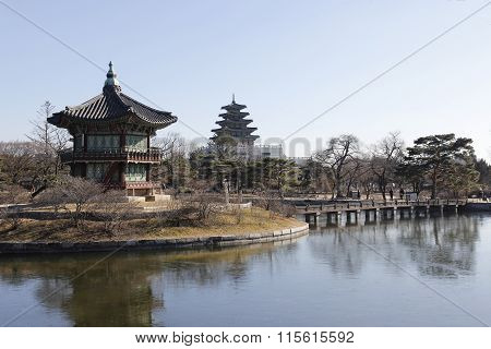 Gyeongbok Palace Lake And Landmark Historic Architecture In Korea