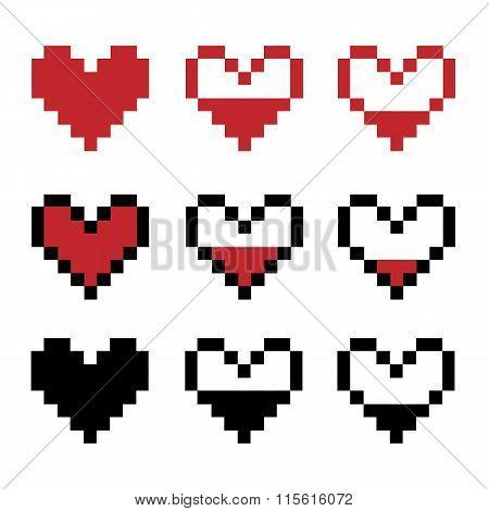 Retro game pixel hearts