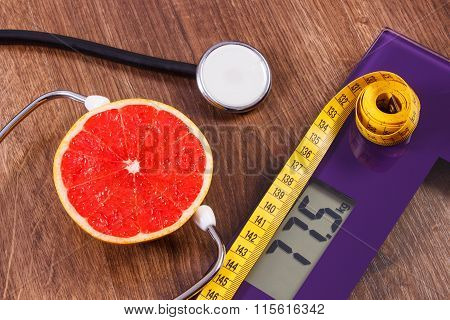 Electronic Bathroom Scale, Centimeter And Fresh Grapefruit With Stethoscope, Slimming And Healthy Li