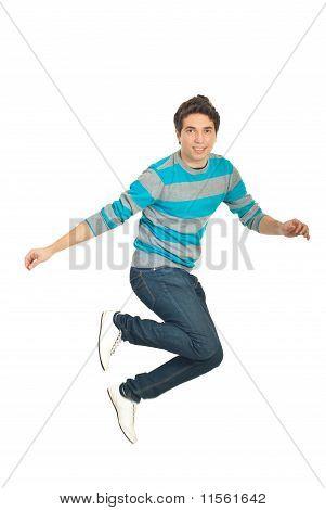 Jumping Casual Man