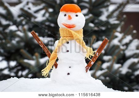 Snowman With Woolen Scarf And Tangerine Peel, Winter Season Concept
