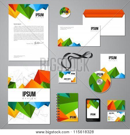 Multicolored vivid corporate identity template
