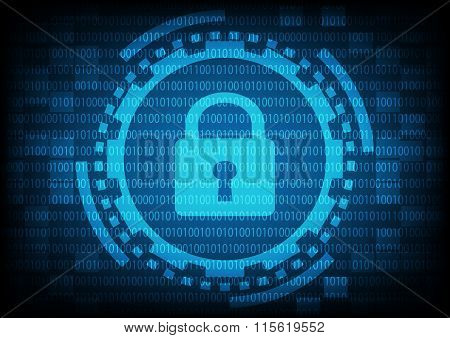 Blue Of Ring And Gears With Key Lock Inside On Binary Code Background.vector Illustration Security T