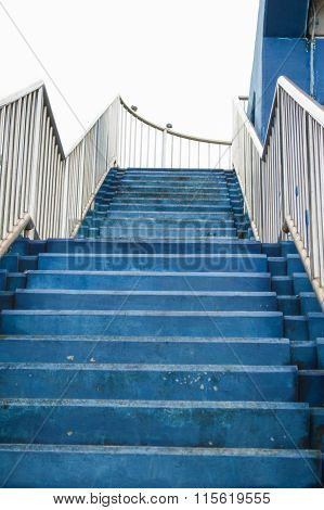 blue overpass stairs