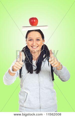 Student Girl Giving Thumbs