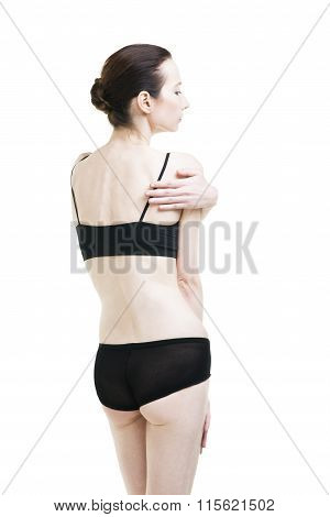 Woman With Pain In Shoulder. Pain In The  Human Body Isolated On White Background