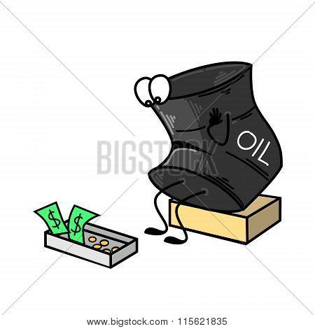 A barrel of oil sad, near a box of money. Vector illustration.