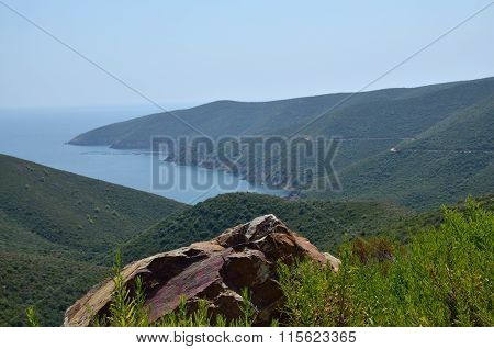 Sea Bay And Hills On Sithonia, Greece