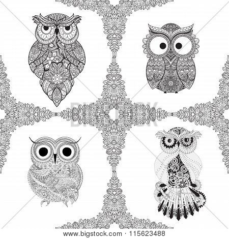 Set from Vector illustration of ornamental owls. Set of Bird illustrated in tribal. Isolated on whit