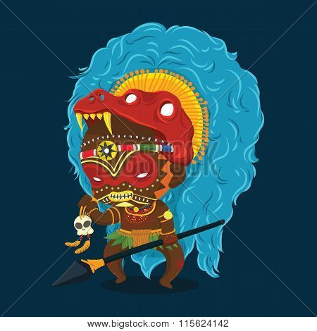 African Tribe Shaman Cartoon Character