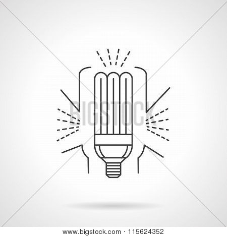 Saving energy lamp flat line vector icon