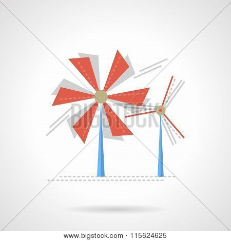 Saving energy flat color vector icon. Wind turbine