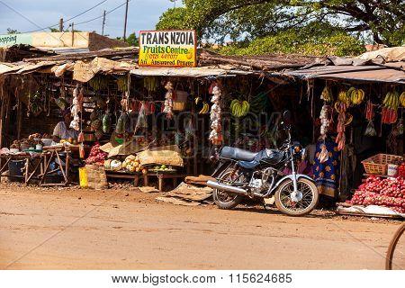 Nairobi, KENYA- December 31, 2012: Ripe fruit stacked at a local fruit and vegetable market on Decem
