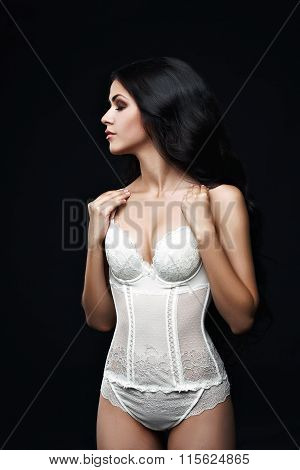 Image of model advertises sexy lingerie. Luxury Make up. Perfect slim body. Long hair.hair.