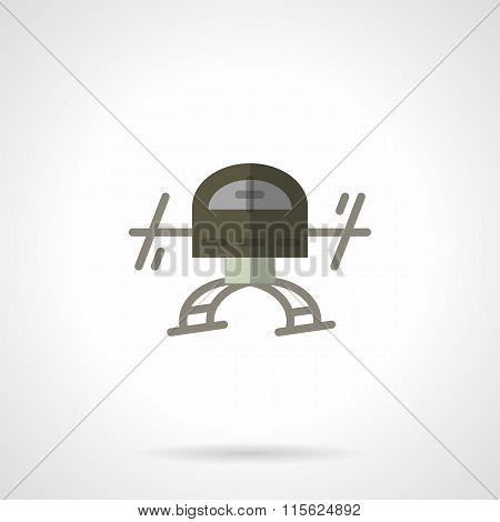 Military robots flat color vector icon. Drone
