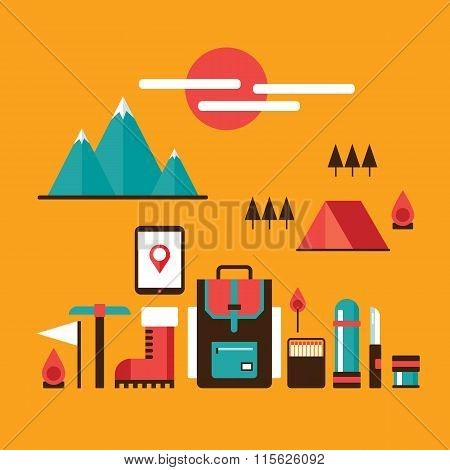 Mountain Hiking And Climbing Camping Travel Recreation Sport Design Elements