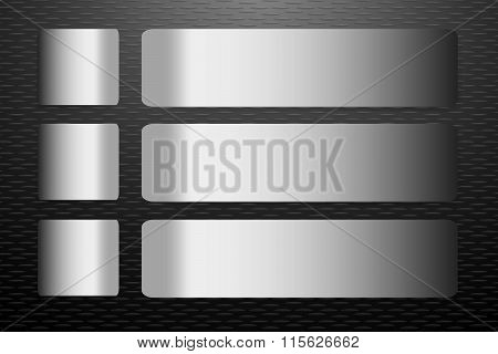 Steel Labels Vector On The Black Embossed Sheet Background