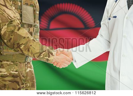 Military Man In Uniform And Doctor Shaking Hands With National Flag On Background - Malawi