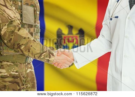 Military Man In Uniform And Doctor Shaking Hands With National Flag On Background - Moldova