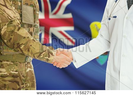 Military Man In Uniform And Doctor Shaking Hands With National Flag On Background - Saint Helena