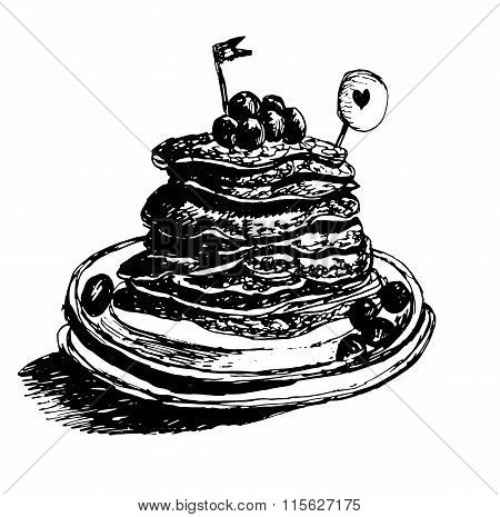 dessert fresh hot pancakes, maple syrup poured with blueberries, hand drawn vector illustration