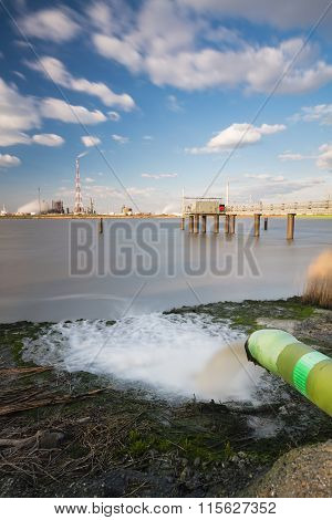 Wastewater Pipe And Refinery Long Exposure