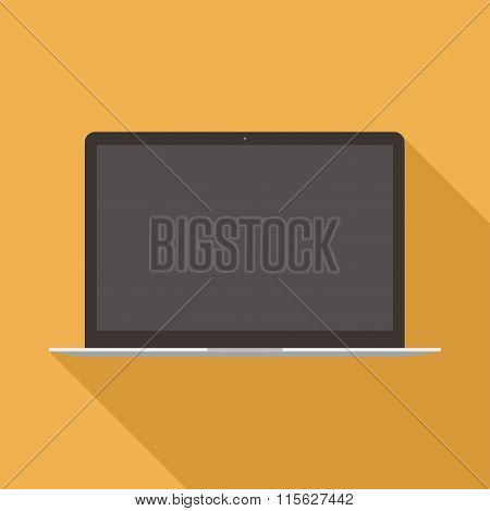 Laptop Icon In The Style Flat Design On The Yellow Background. Stock Vector Illustration Eps10
