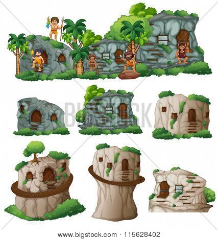 Cavemen and houses in the mountain illustration