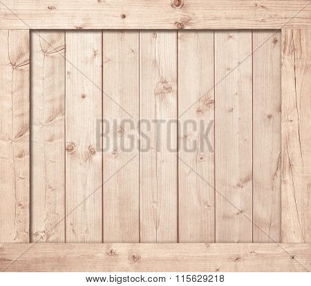 Side of wooden box, wall or frame