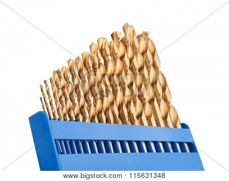 Drill bits of different sizes, isolated on white background