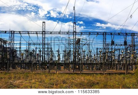 Electrical Distribution Station, Transformers, High-voltage Lines.