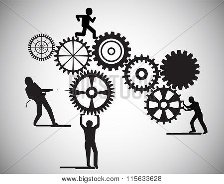 Concept Of Teamwork, People Building Gear Wheels, This Also Represents Business Partnership & Unity
