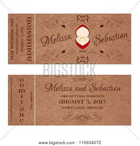 Ticket for Wedding Invitation with wedding golden ring in a red box