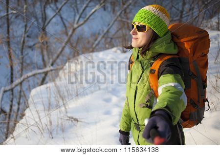 Girl Makes A Selfie In The Forest In Winter.