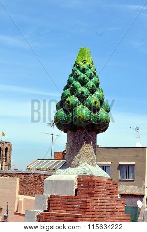 The Green Mosaic Chimney Restored By Antonio Gaudí