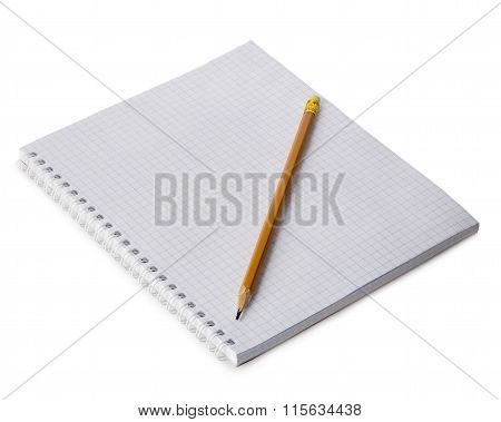 Paper Spiral Notebook With A Pencil Close-up Isolated On A White Background. Blank Background.